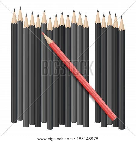 Single red pencil stands out amongst many black pencils. School supplies concept. Vector illustration