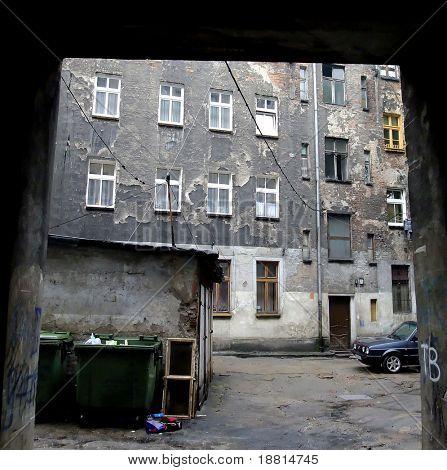 Decrepit, stinky building in Wroclaw, Poland