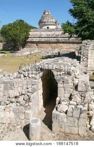 Mayan Observatory Ruin At Chichen Itza
