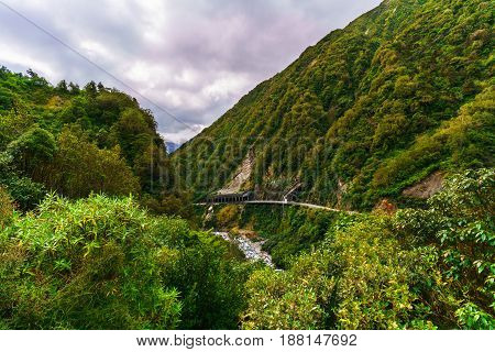 The Otira Gorge road is a section of State Highway 73 and remains important communication and transport link between Canterbury and Westland South Island of New Zealand