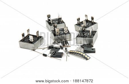 Diode elements bridge isolated on white background