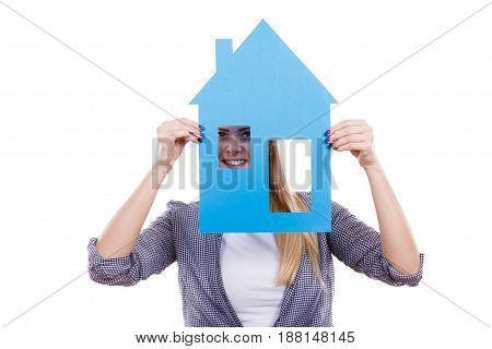 Woman Holding Blue Paper House Model Cutout.