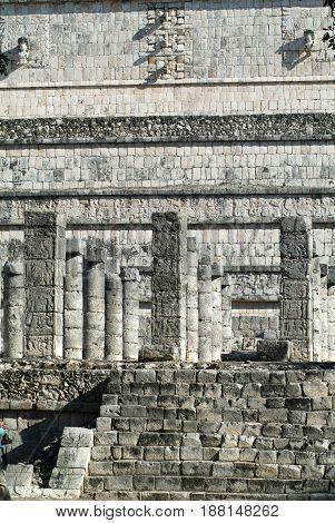 Chechen Itza, Mexico - 24 January 2009: Templo de los Guerreros, Temple of the Warriors at Chichen Itza Yucatan