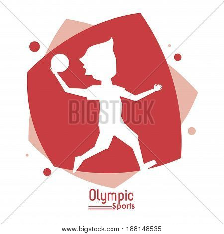 color abstract scene with silhouette faceless handball player olympic sport vector illustration