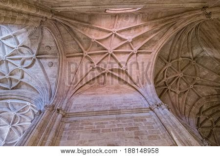 Almeria SPAIN - May 19: Interior of Cathedral of the incarnation detail of vault formed by pointed arches unique nature of fortress built in the 16th century placed in Almeria Andalusia Spain
