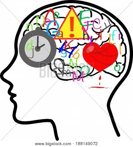 Stressed head full of things concept vector about busy mind