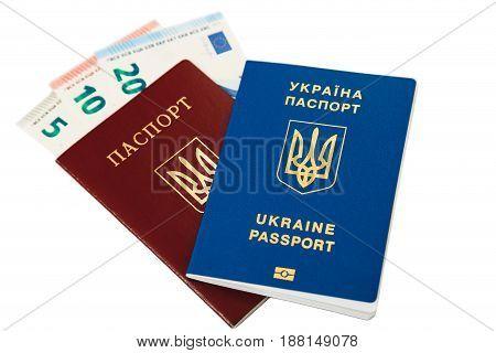 New Ukrainian Blue International Biometric Passport With Identification Chip And Fingerprints Lying