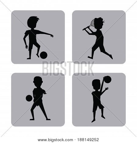 monochrome square buttons set of male silhouette athletes of differents sports vector illustration