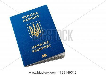 New Ukrainian Blue International Biometric Passport With Identification Chip And Fingerprints Isolat