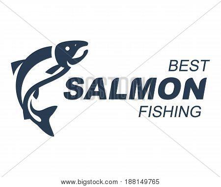 Best Salmon Fishing emblem, labels and design elements. Logo vector illustration