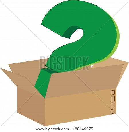Box of cardboard box with green color demand point