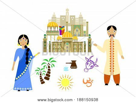 set in the style of a flat design on the theme of india.