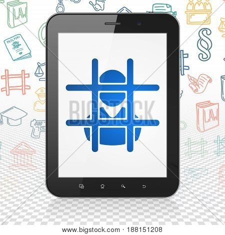 Law concept: Tablet Computer with  blue Criminal icon on display,  Hand Drawn Law Icons background, 3D rendering