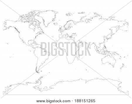High detailed outline of world map with Antarctica. Simple thin black vector stroke on white background.