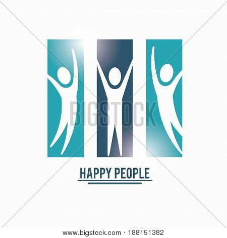 color teamwork happy people with rectangle set silhouette pictograms vector illustration