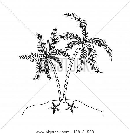 black silhouette of island with palm trees and starfish vector illustration