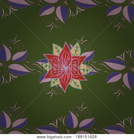 Pretty floral print with blue small flowers. Motley seamless pattern. Vector abstract flower background.