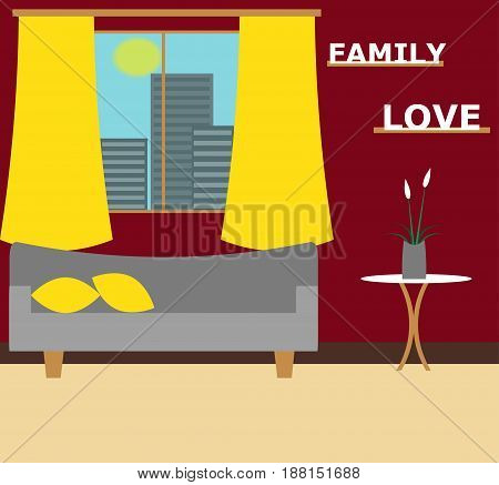 Living room vector illustration. Modern stylish living room flat design.