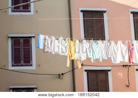 laundry drying outside on rope in the italian town
