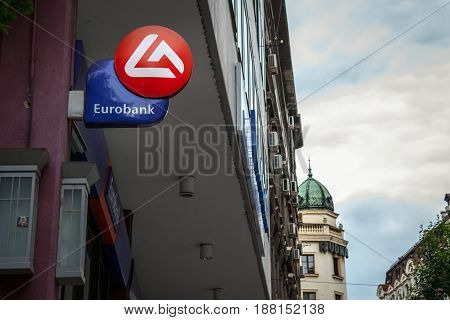 BELGRADE SERBIA - MAY 25 2017: Eurobank EFG Serbia's main office in the center of Belgrade. Eurobank is Greece's 3rd bank and one of the main banks in Serbia