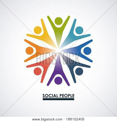 colorful teamwork with abstract figure human social people vector illustration