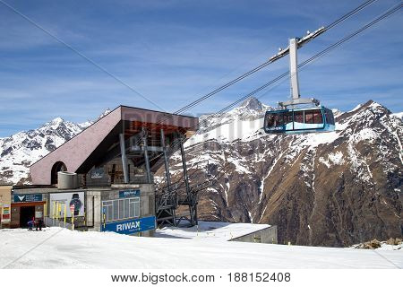 Zermatt, Switzerland - April 12, 2017: The Blauhorn-Rothorn cable car approaching the Blauhorn station