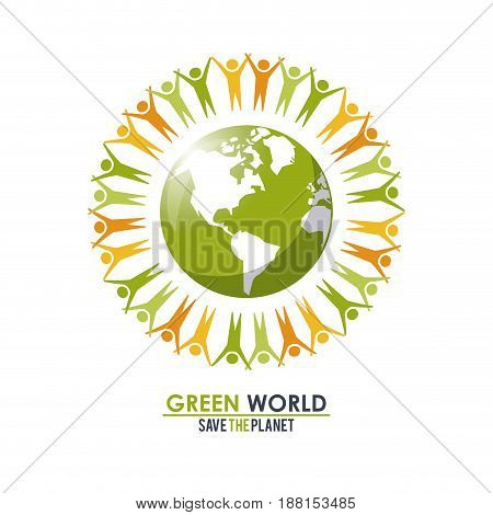 group of people around the planet concept green world vector illustration