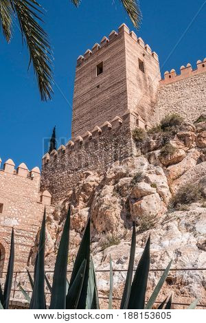 Medieval Moorish Fortress Alcazaba In Almeria, Eastern Tip Is The Bastion Of The Outgoing, Andalusia