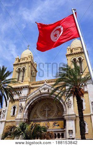 The famous catholic church in tunis tunisia