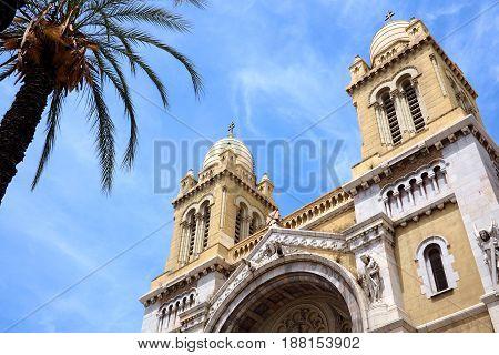 low angle exterior of catholic church in tunis tunisia