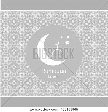 Ramadan Kerim, elegant grey background with mosque and moon white. Template design for greeting card, banner, poster, invitation. Vector illustration.