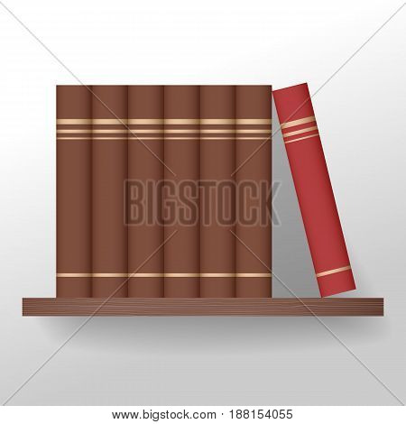 Bookshelf. Red book stands out amongst brown books. Education and school concept. Vector illustration