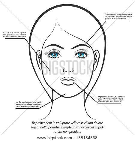Blue eyes female face isolated on white background. Female face information poster design. Vector illustration