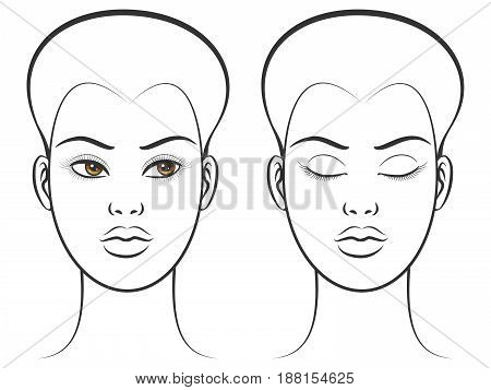Brown eyes female face with open and close eyes. Vector illustration