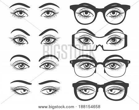 Female eyes and eyes with glasses isolated on white background. Vector illustration