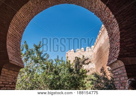 Medieval moorish fortress Alcazaba in Almeria Andalusia Spain