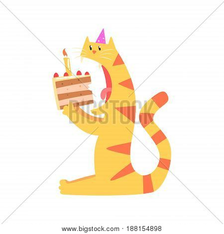 Cute cartoon tiger biting piece of cake. Happy Birthday colorful vector Illustration for poster, greeting card, banner