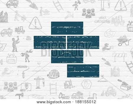 Construction concept: Painted blue Bricks icon on White Brick wall background with  Hand Drawn Building Icons