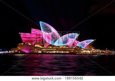 SYDNEY AUSTRALIA - MAY 26 2017; Sydney Opera House lit up with various moving designs during the Vivid Sydney annual public event
