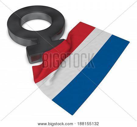 symbol for feminine and flag of the netherlands - 3d rendering