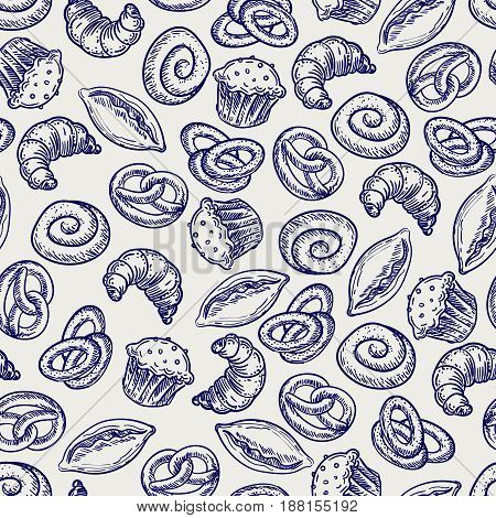 Ballpoint pen drawing bakery or pastries seamless pattern. Vector bakery seamless texture