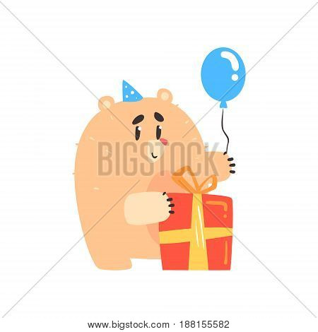Lovely cartoon bear in a blue party hat holding blue balloon and red gift box Happy Birthday colorful vector Illustration for poster, greeting card, banner