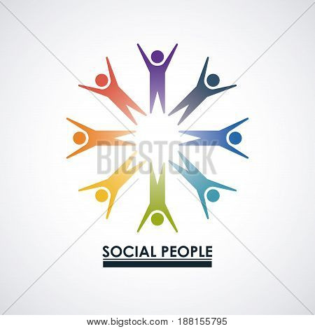colorful team of partner in abstract figure human social people group vector illustration