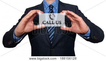 Businessman Showing Card With Call Us Text