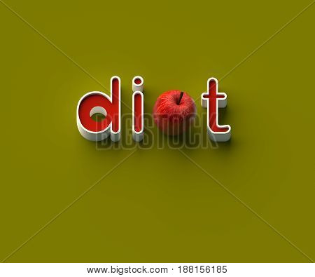 3D RENDERING OF WORDS 'di', AN APPLE AND 't' ON YELLOW PLAIN BACKGROUND