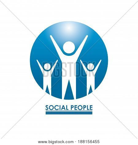 white background with circle figure of teamwork with hands up social people vector illustration