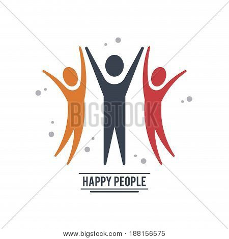 colorful teamwork happy people with three pictograms celebrate vector illustration
