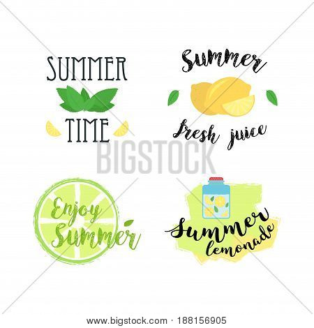 Summer labels, logos, hand drawn tags and elements set for summer holiday, travel, beach vacation, sun. Vector illustration