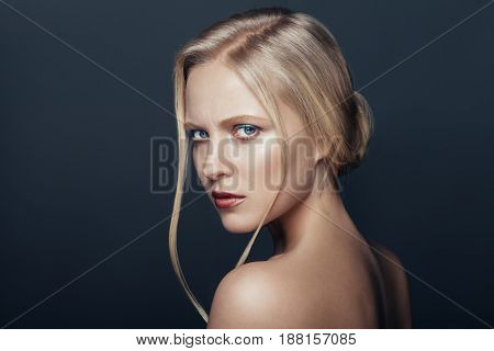 Beauty Portrait Of Frown Natural Blonde Woman