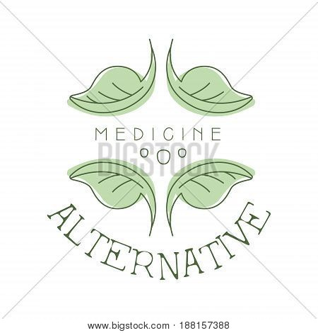 Alternative medicine logo symbol vector Illustration for business emblem, badge for yoga studio, homeopathy, herbal medicine center